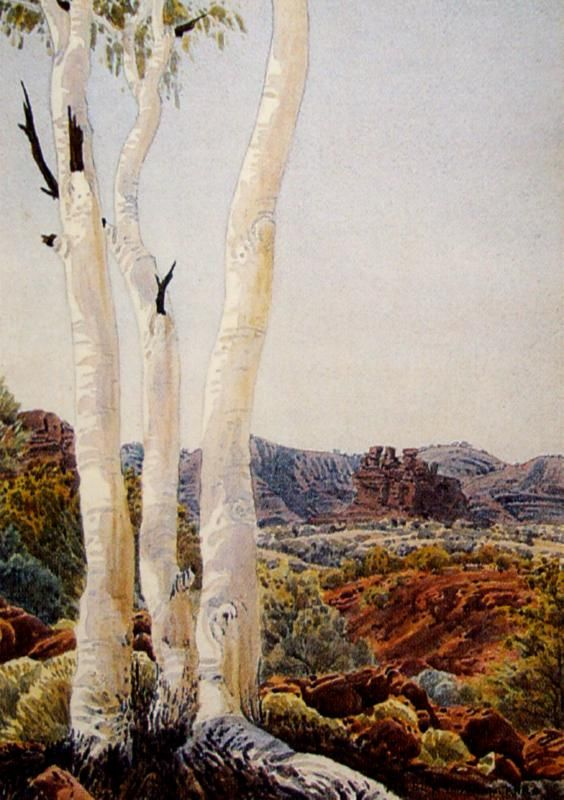 Albert Namatjira, Central Australian Landscape with Ghost Gums, watercolour, signed lower right, 27.5 x 36.5 cm