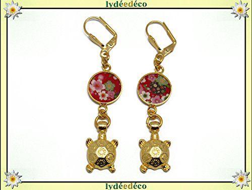 Boucles D Oreilles Japon Laiton Dore Or Fin 24 Carats 24k Fleur