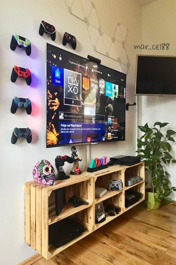 73 Most Popular Video Game Room Furniture ,You can find Game room decor and more on our website. 73 Most Popular Video Game Room Furniture , Nerd Room, Gamer Room, Game Room Furniture, Furniture Decor, Gaming Furniture, Wooden Crate Furniture, Furniture Arrangement, Boys Game Room, Teen Game Rooms