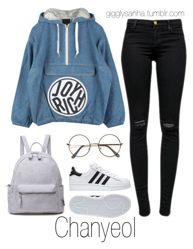 """At the Airport // Chanyeol"" by suga-infires ❤ liked on Polyvore featuring adidas, J Brand and Joyrich"