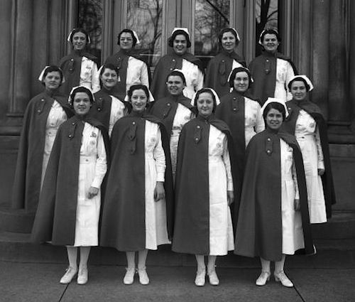 st. anthony's nurses, 1933. Nursing has come a long way. I still remember graduating from nursing school in 1984 and we still had to wear our hats at the Catholic Hospital I worked for. It wasn't until a year later that they let us wear pant uniforms and no hats (so scandalous!!)