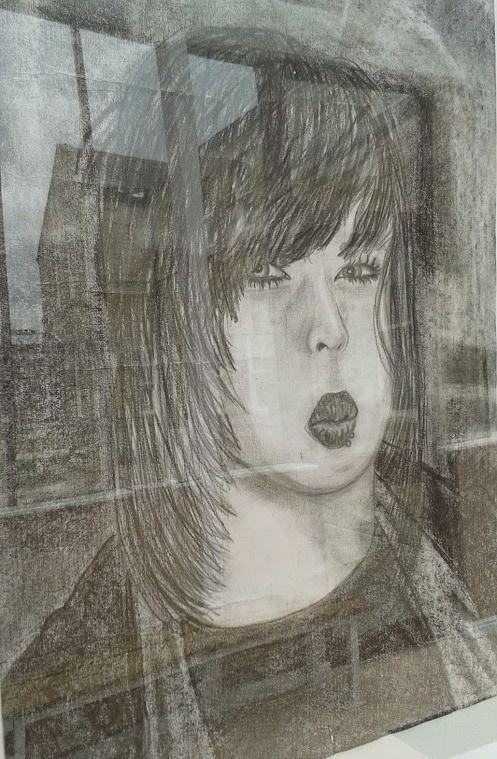 Very expressive pencil drawn 'selfie'
