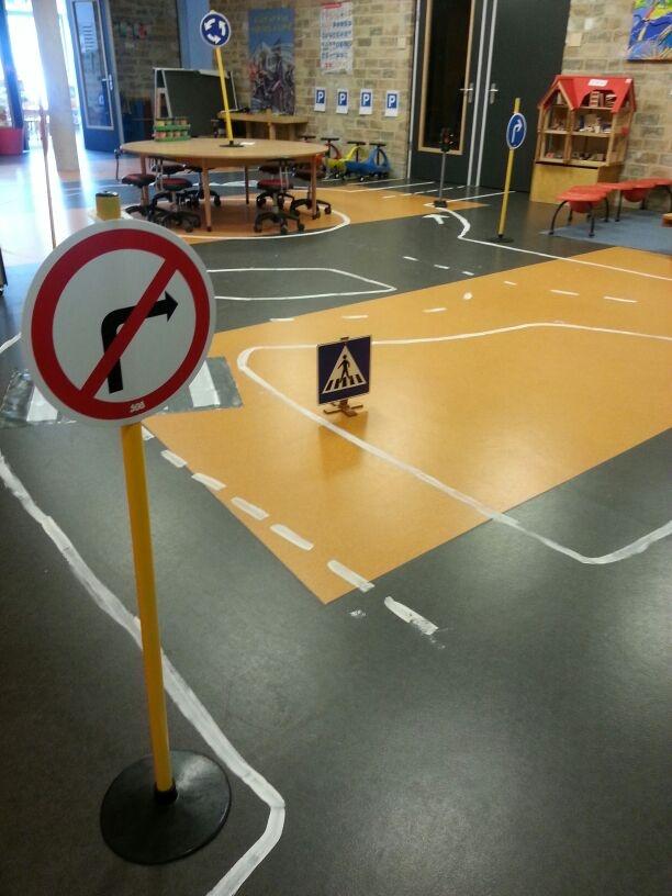Route tijdens het thema Verkeer op de Prinses Amaliaschool in Boxtel. www.prinses-amaliaschool.nl