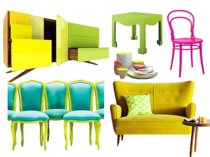 Neon Furniture Collage From Liv Chic   Classic Chairs With The Bright  Updated Lime Green Paint And Blue Fabric!