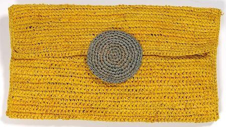 AM195 Yellow Handcrafted Raffia Crochet Clutch Le Voyage en Panier