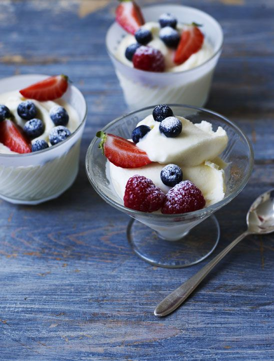This frozen dessert is so fragrant and so easy to make: the ingredients are just whipped together and frozen and it doesn't need churning. Serve with summer berries for the perfect summer dessert.
