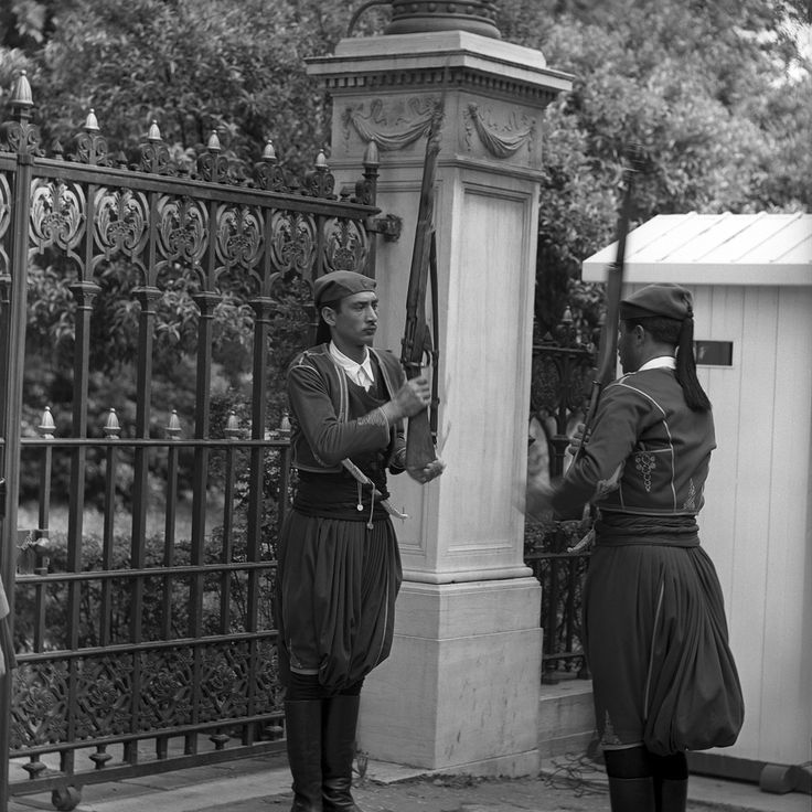athens, greece may 1959 members of the royal guard. part of an archival project, featuring the photographs of nick dewolf