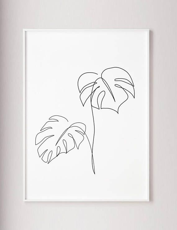 Monstera line art, Tropic leaves print, Abstract botanic plants wall decor, Minimalist art, Modern room decor, wabi sabi printable wall art – Elizaveta