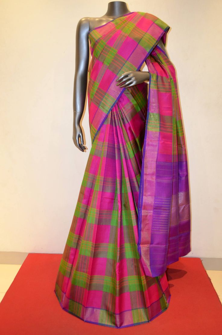 Coloful Checks Traditional Kanjeevaram Silk Saree Product Code: AB204943 Online Shopping; http://www.janardhanasilk.com/index.php?route=product/product&search=AB204943&description=true&product_id=4242