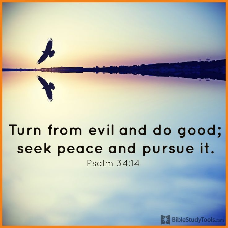 """Turn from evil and do good; seek peace and pursue it."" Psalm 34:14"