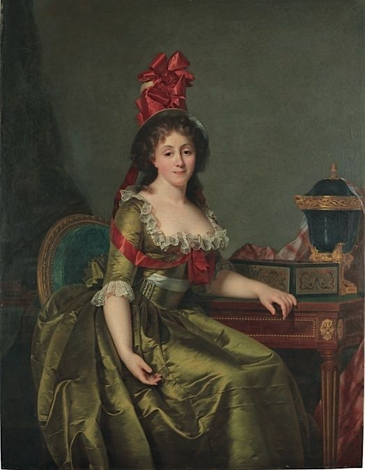 ROSE-ADELAÏDE DUCREUX (1761-1802) - PORTRAIT OF A LADY, SEATED, THREE-QUARTER-LENGTH, IN A GREEN SATIN DRESS AND A BONNET WITH RED RIBBONS