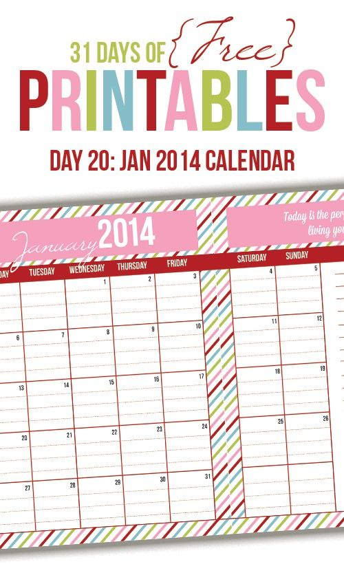 January 2014 Calendar: Day20 of 31 Days of Free Printables