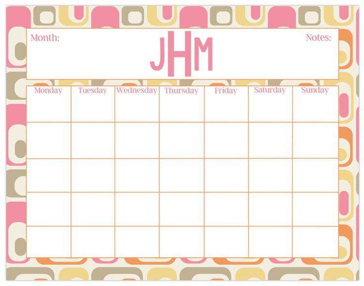 Large desk calendar, retro print, monthly calendar or weekly calendar, personalized desk calendar, custom calendar pad by PaperKStudios on Etsy