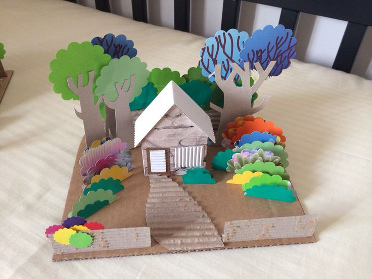 House in the woods diorama made of recycled cardboard