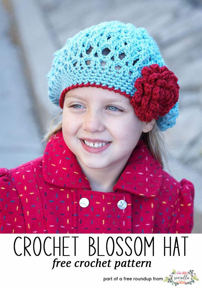cf8eb974fe7 Crochet this easy awesome blossom lacy flower slouchy beret kids child hat  from Yarnspirationsfrom my winter kids hats free pattern roundup!