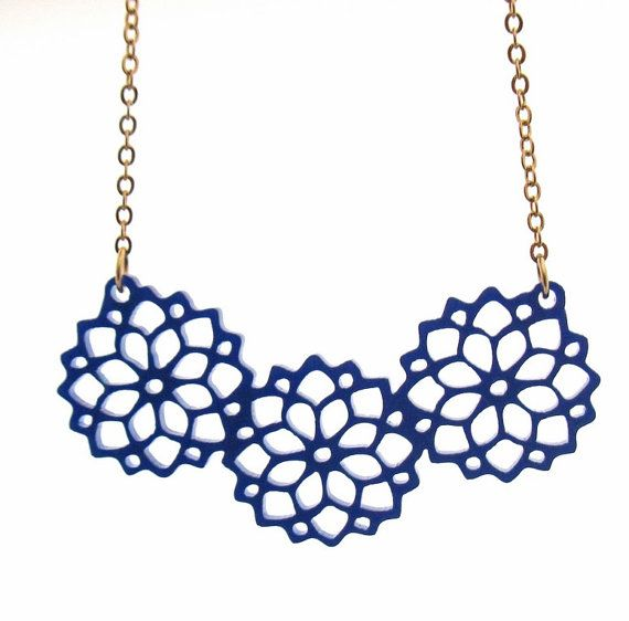 "Beautiful Bouquet Necklace - Blue Jewelry   Stunning statement blossom necklace made from blue acrylic,  It comes on a gold plated tiny Cable chain.  The necklace total measure approx: 18"" (46cm)(with the pendant).  Pendant measures approx 3.7"" (9.5cm) in length.  $39.9"