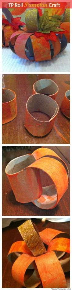 TP Roll Pumpkin Craft! Make these cute pumpkins using simple things you have around the house. All supplies can be found at the dollar store. #diy #crafts #fall #pumpkins by delia