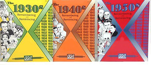 Seniors Trivia Activity Books – Each paperback book contains about 40 pages of trivia, discussion questions, matching, and fill-in-the-blank style games from the decade. Examples of topics: 1930s - early radio, film favourites and big band; 1940s - song titles, World War II, name-the-stars. 1950s - Elvis Presley, rock and roll, Truman, Eisenhower, and Lucille Ball.