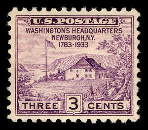 April 19, 1933, a violet 3-cent stamp was issued to commemorate the 150th anniversary of George Washington's proclamation of peace.