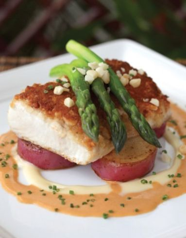Macadamia Nut Crusted Mahi Mahi with Thai Style Coconut Basil sauce ~ scroll down to bottom of page for recipe
