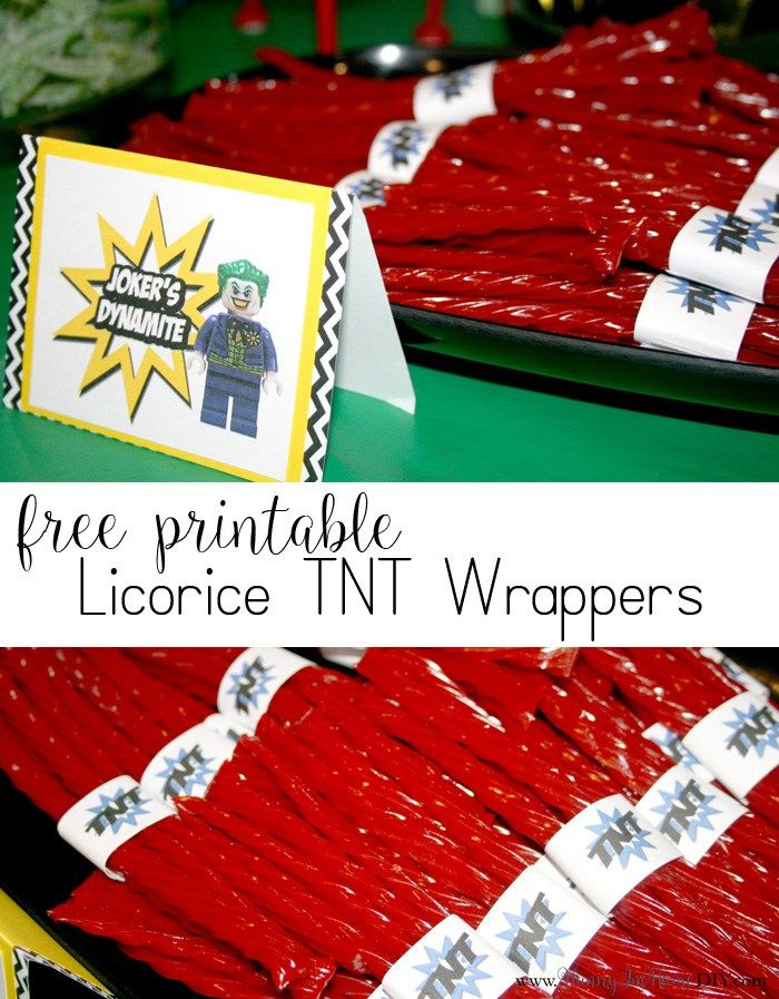 Check out my Lego Batman birthday party and get free printable TNT licorice wrappers!