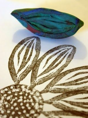 Stamp Printing with Modeling clay, via Apartment therapy