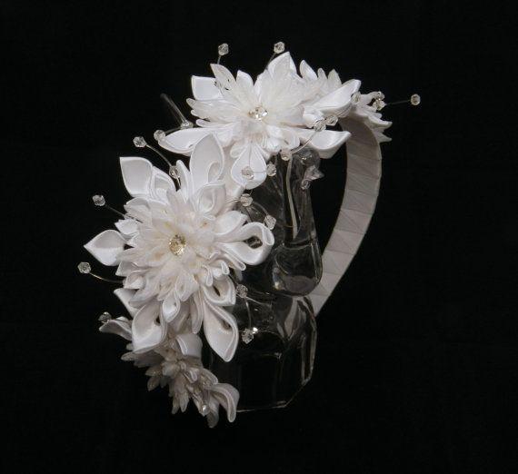 Ободок канзаши Вальс снежинок от LazuritLouise на Etsy