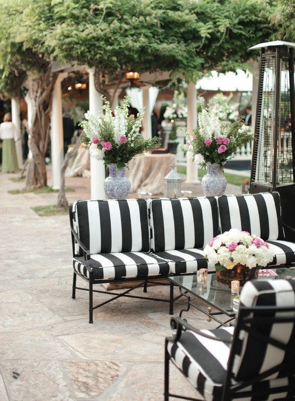Backyard Pasadena Wedding From Desi Baytan Photography Striped Couchstriped Cushionsblack White Weddingsstriped Furniturewhite Patio