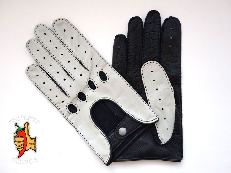 Men's deerskin leather  driving gloves size 9 - SPEED RACER - BLACK & WHITE #ThePepperGloves #DrivingGloves