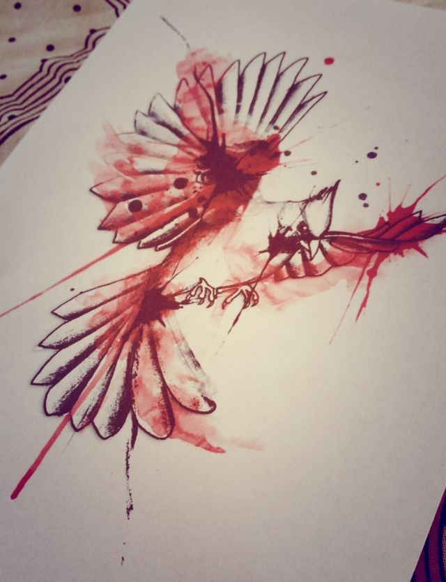 Cardinal bird watercolor tattoo design