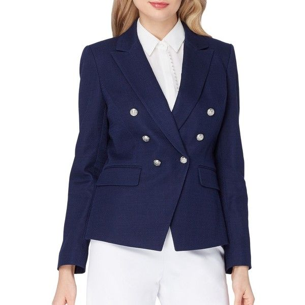 Tahari Arthur S. Levine Women's Solid Peak-Lapel Jacket (€93) ❤ liked on Polyvore featuring outerwear, jackets, military navy, military jacket, navy blue jacket, military style jacket, navy military jacket and navy blue military jacket