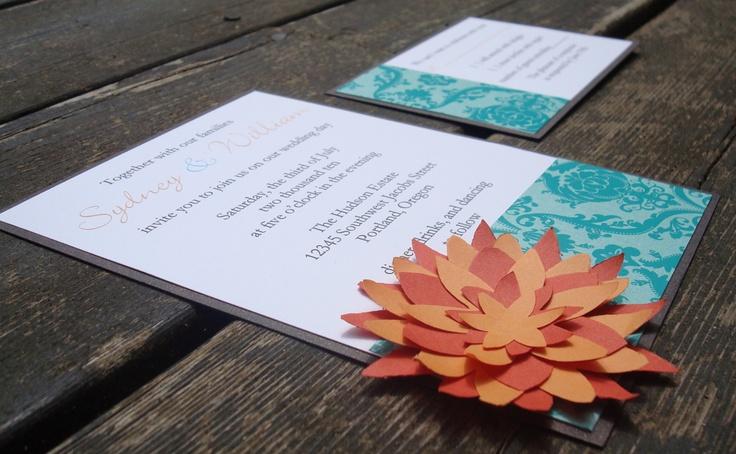 Wedding Invitation - Turquoise envelope