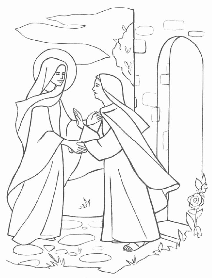 Mary And Elizabeth Coloring Page Lovely The Visitation Coloring Page Coloring Home In 2020 Bible Drawing Bible Illustrations Craft Activities