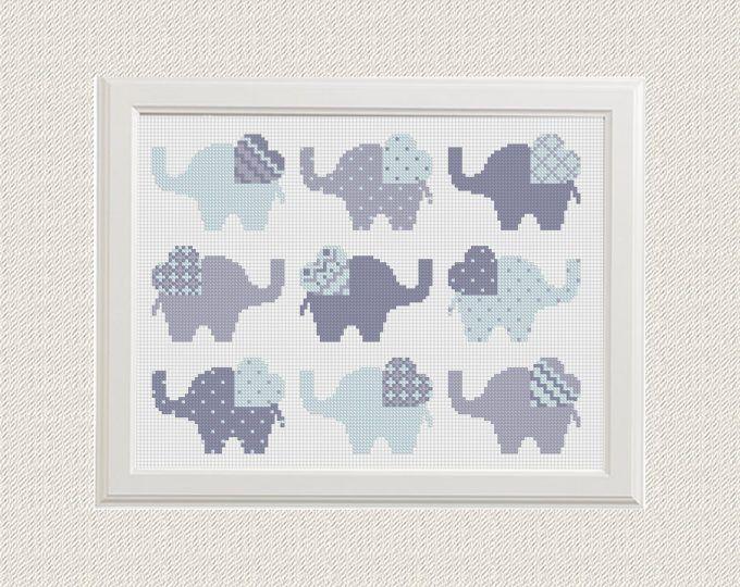Elephant dwars steek patroon Set van 9 dier sampler kruissteek modern PDF Pattern Threads