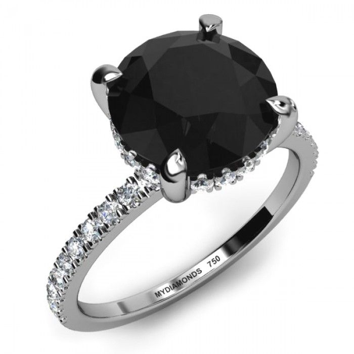 black ring rings princess wedding diamond cut stone unusual engagement