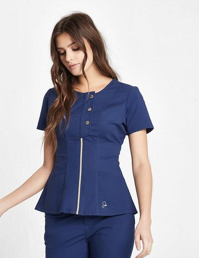 The Snap Front Top - Estate Navy Blue