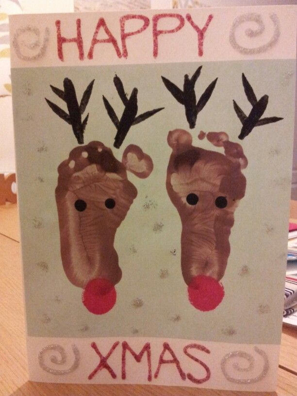 Reindeer footprint Xmas card.