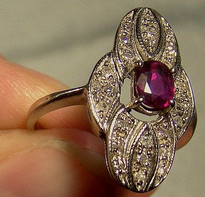 14K White Gold Ruby Diamonds Ring c1940s by FionaKennyAntiques