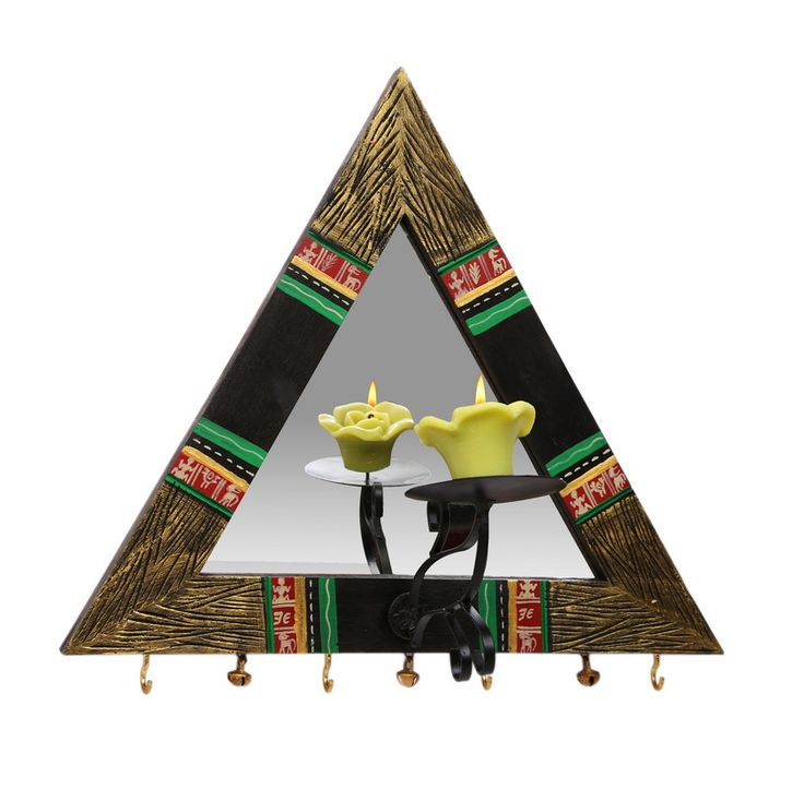 This Triangular Mirror & Key holder is made of wood.   Candle Holder projects from the frame and reflections in the mirror make this piece exquisite.   It can be used as a key ring holder as well as a decoration piece to beautify your house.