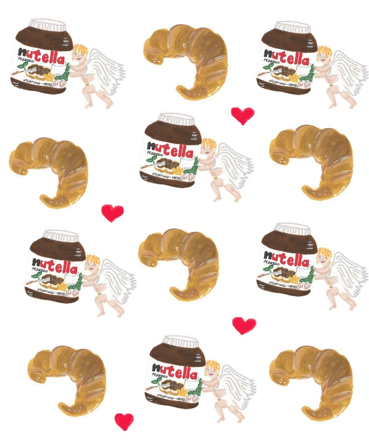 Food #illustration. #Croissants and #nutella by Francisca Feuerhake