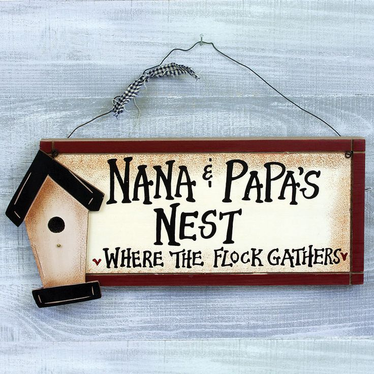 "Nana and Papa's Nest - where the flock gathers plaque. Great gift for the grandparents or parents. Materials: Painted wood and metal hanger. Dimensions: 13"" W x 6"" H x 1"" D Shipping weight: 2 lbs."