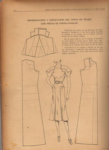 Vintage 1930s 1940s Dress Pattern Draft