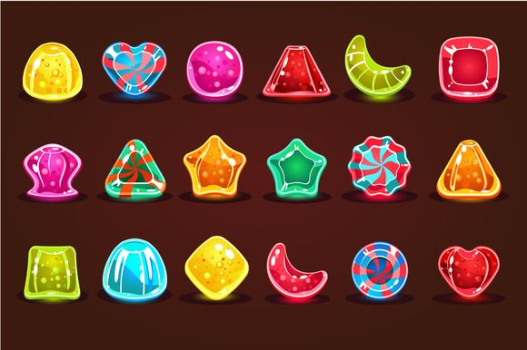 Bright cartoon candies for game by TopVectors on @creativemarket