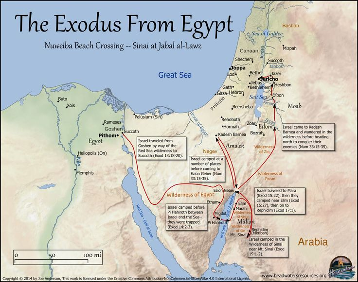 map - Exodus of the Israelites. Does not show their journey down into the south of Saudi Arabia where they built communities. Excellent Map!