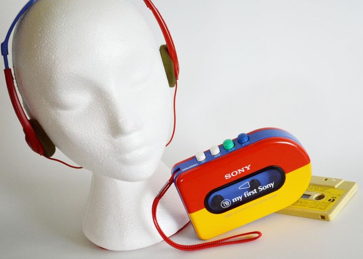 My First Sony, Children's Cassette Player, Red, Yellow and Blue, Classic Sony Walkman with Headphones by Retrorrific on Etsy