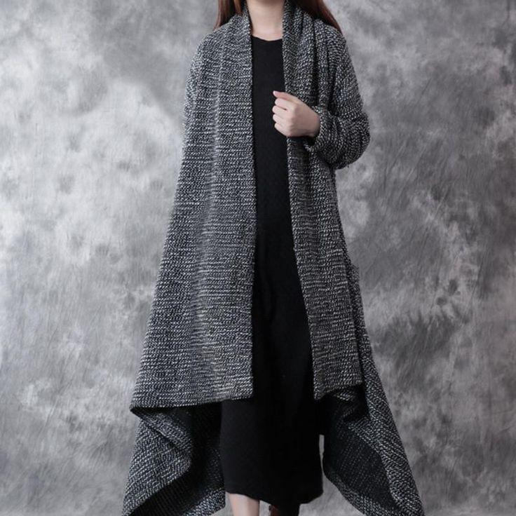 Cotton Woolen Knitted Long Coat