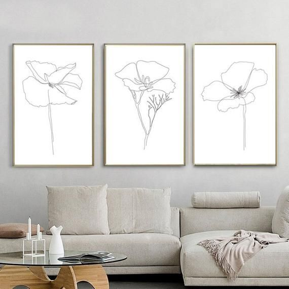 Flower Line Drawing Set Of 3 Prints Printable Wall Art Botanical Line Art Flowers Sketch Plant Artwork Minimal Poster Flower Print Home Art – Karinaalexvas
