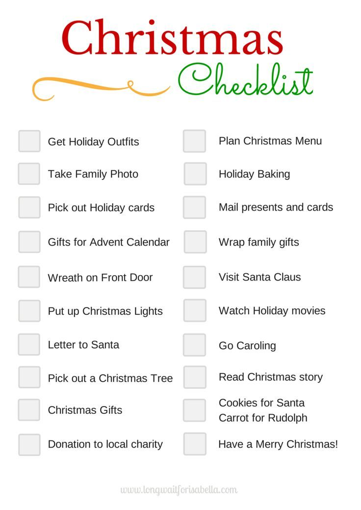 Printable Christmas Checklist Long Wait For Isabella Christmas Checklist Christmas Planning Christmas Prep