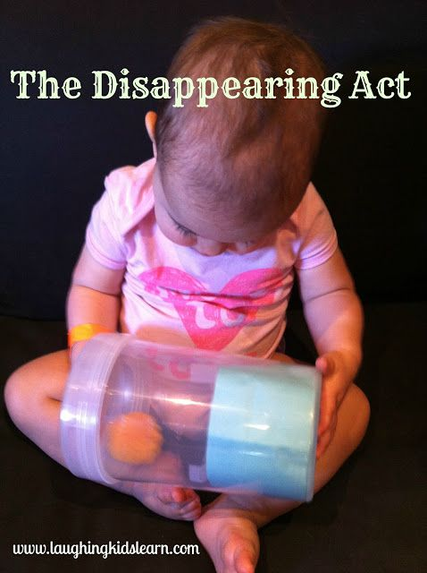 Problem Solving & Developing Thinking Skills:  place tissue paper in the bottom of a clear container & secure with tape.  Place in a pom-pom, ball, dice, or other knick-knack from around your home.  Secure the lid on top.  While playing your baby is learning about object permanence as well as expanding their cognitive thinking skills!