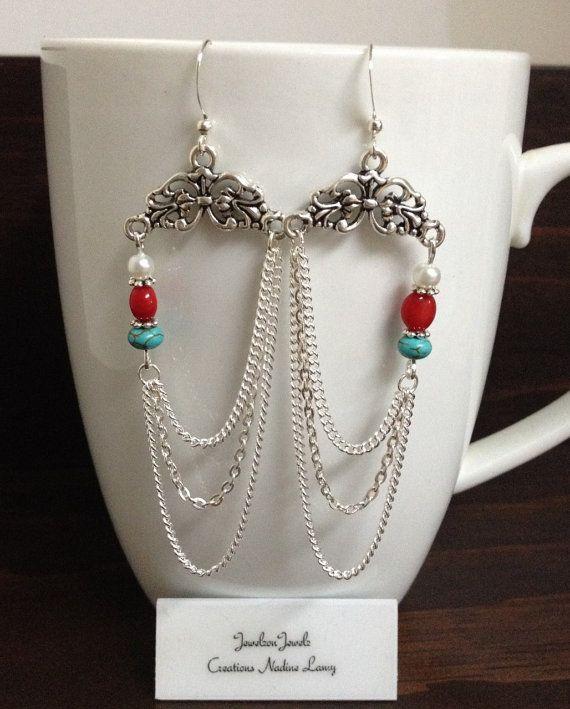 Turquoise Chandelier Earrings//Pearl Chandelier by JewelzonJewelz